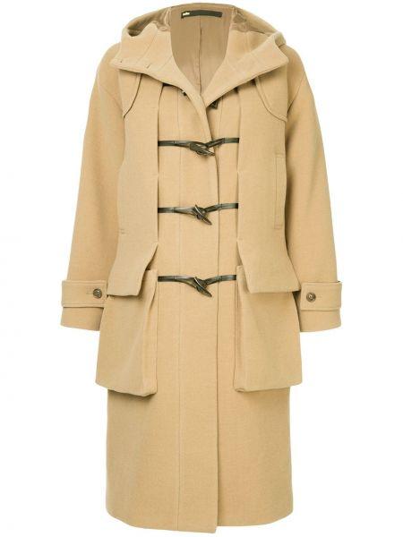 Приталенное шерстяное бежевое длинное пальто Muller Of Yoshiokubo