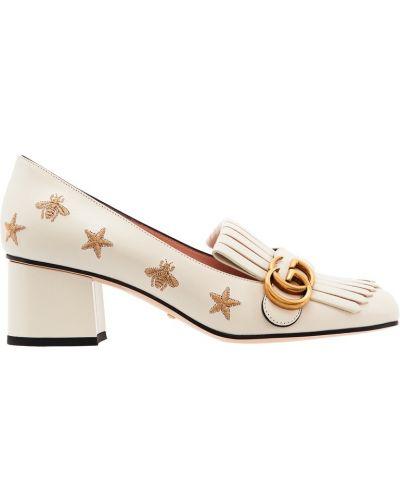 Туфли на каблуке кожаные на среднем каблуке Gucci