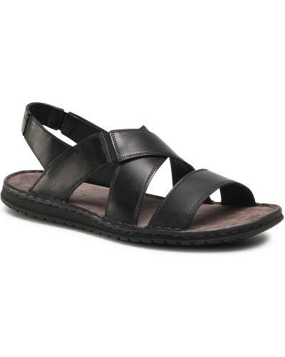 Sandały skórzane - czarne Lasocki For Men