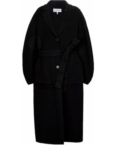 Черное шерстяное полупальто Loewe