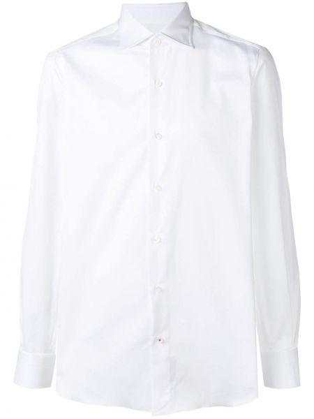 Klasyczna biała koszula bawełniana z długimi rękawami Isaia