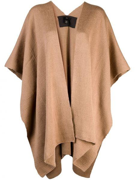 С рукавами открытая коричневая накидка из альпаки Voz