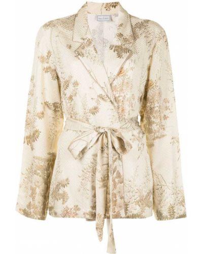 Классический пиджак с поясом с вышивкой из вискозы Pierre-louis Mascia