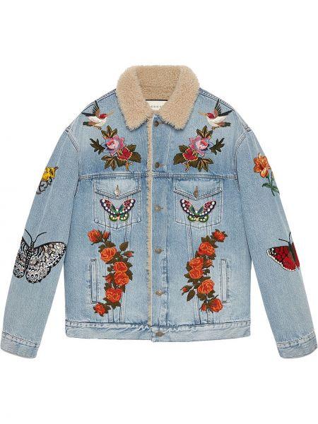 Джинсовая куртка с нашивками с манжетами на пуговицах прозрачная Gucci