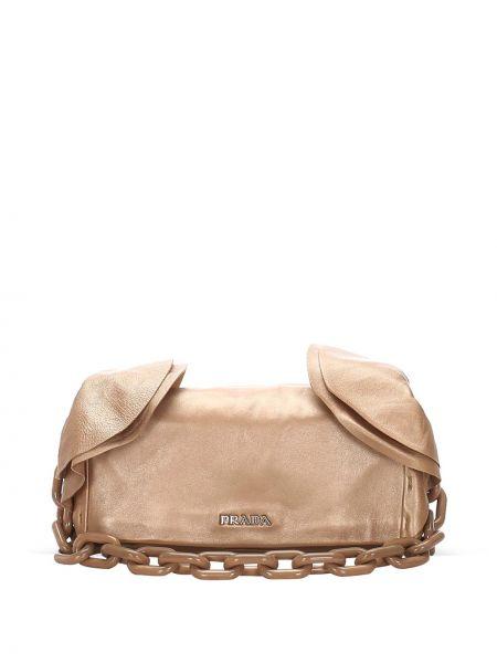 Кожаная серебряная сумка на плечо с подкладкой Prada Pre-owned