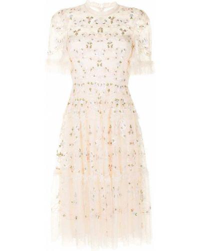 Платье мини прозрачное с короткими рукавами с пайетками Needle & Thread
