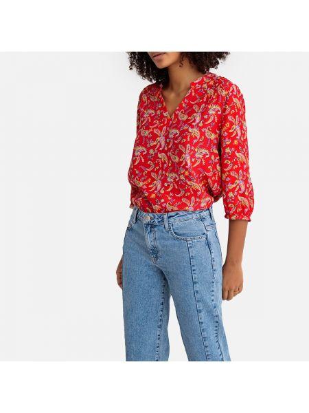 Красная блузка с длинным рукавом с вырезом с рисунком из вискозы Sud Express