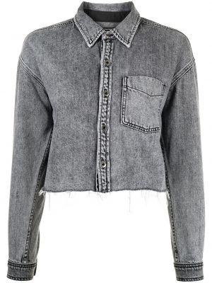 Niebieska koszula jeansowa bawełniana z długimi rękawami Grlfrnd