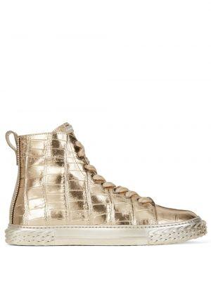 Ażurowy skórzany wysoki sneakersy złoto z łatami Giuseppe Zanotti