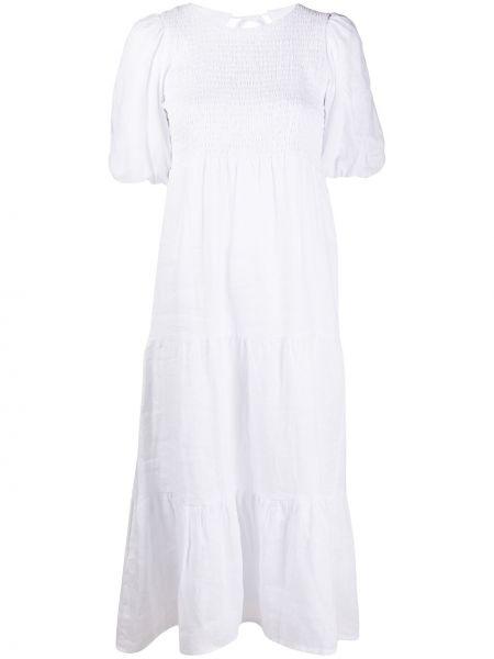 Белое льняное платье миди с короткими рукавами с круглым вырезом Faithfull The Brand