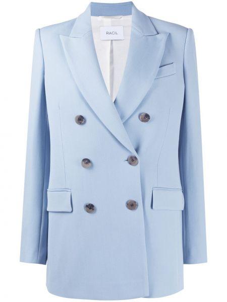Niebieska długa kurtka wełniana z długimi rękawami Racil