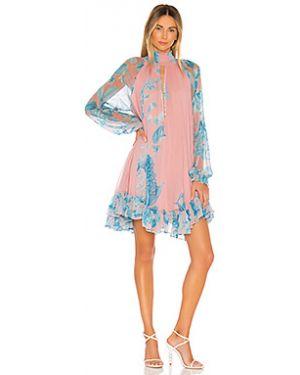 Плиссированное розовое платье мини на пуговицах с вырезом Hemant And Nandita