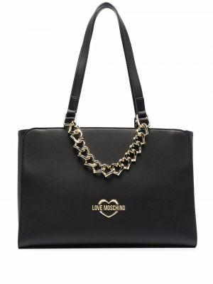 Czarny złoty łańcuszek z printem Love Moschino
