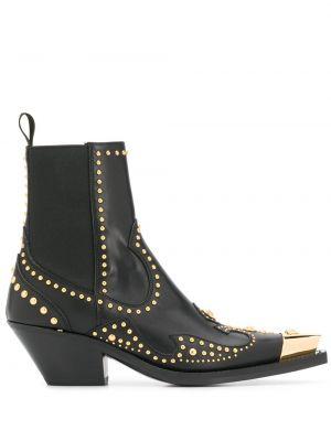 Кожаные ботинки - черные Versace