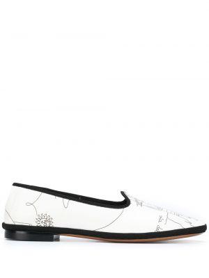 Белые кожаные слиперы на каблуке Emilio Pucci