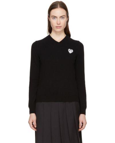 Czarny sweter z kołnierzem z dekoltem w szpic z łatami Comme Des Garcons Play