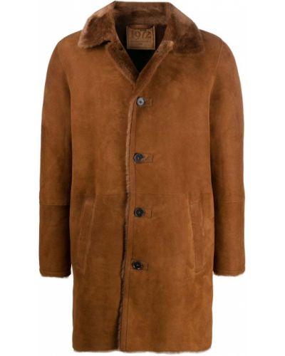 Коричневое однобортное кожаное длинное пальто на молнии Desa 1972
