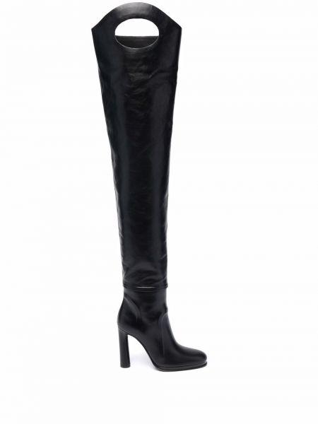 Черные кожаные сапоги на шпильке на каблуке Burberry