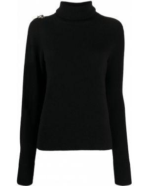 С рукавами шерстяной черный свитер в рубчик Christopher Kane