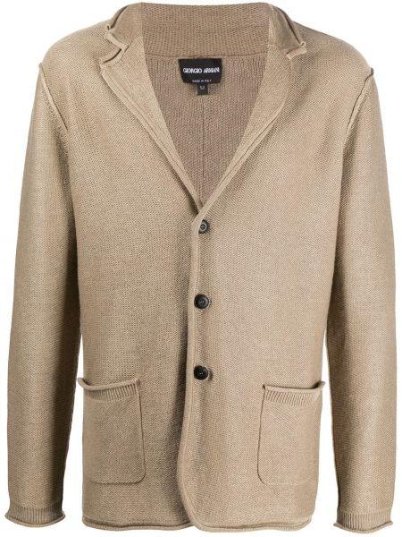 Шерстяной коричневый удлиненный пиджак с воротником Giorgio Armani