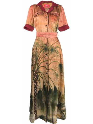 Pomarańczowa sukienka mini krótki rękaw z jedwabiu F.r.s For Restless Sleepers