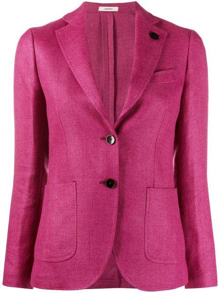 Розовый приталенный пиджак с карманами Lardini