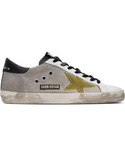 Koronkowa skórzany złoty czarny sneakersy Golden Goose