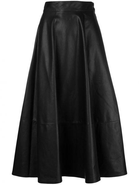 Тонкая черная с завышенной талией плиссированная юбка из натуральной кожи Loewe