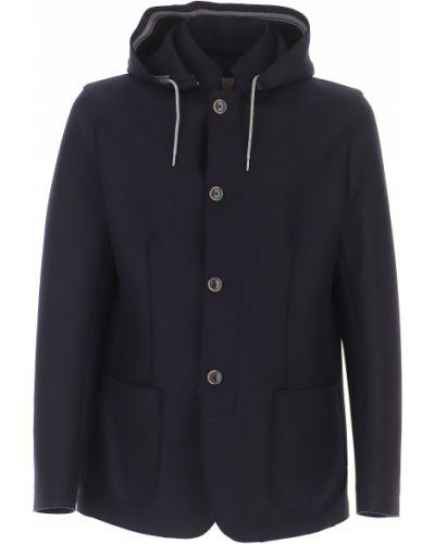 Niebieski zimowy płaszcz z kieszeniami na przyciskach od płaszcza przeciwdeszczowego Herno
