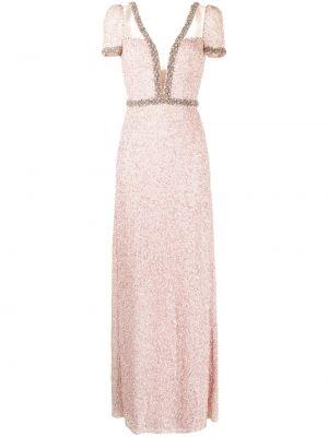 Прямое розовое платье мини с открытой спиной Jenny Packham