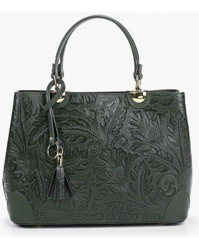 Зеленая сумка из натуральной кожи Carla Ferreri
