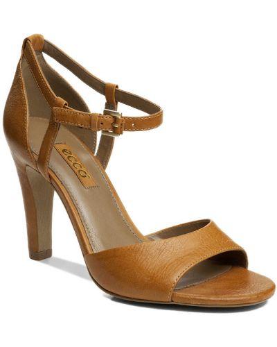 Босоножки на высоком каблуке на каблуке кожаные Ecco