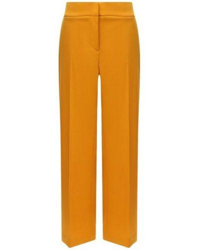 Шерстяные прямые повседневные со стрелками брюки Oscar De La Renta