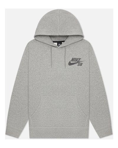 Серая кофта с капюшоном Nike Sb