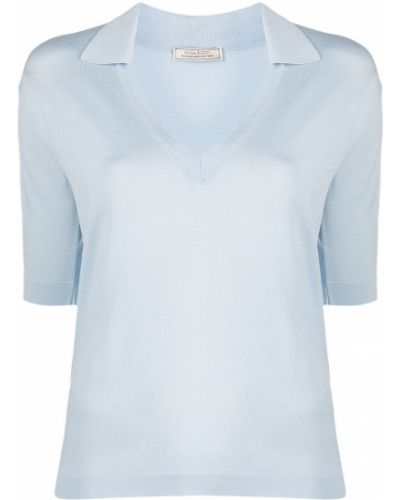 Прямая синяя футболка с воротником Nina Ricci