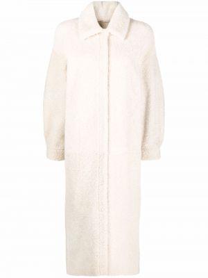Белое кожаное пальто Simonetta Ravizza