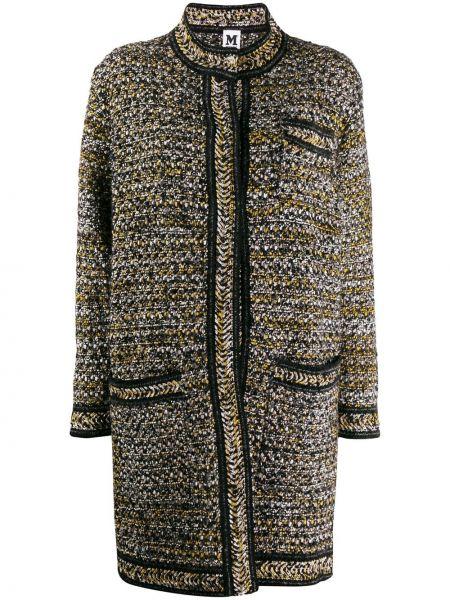 Шерстяное черное длинное пальто M Missoni