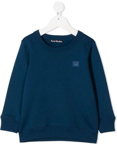 Niebieska bluza długa z haftem z długimi rękawami Acne Studios Kids