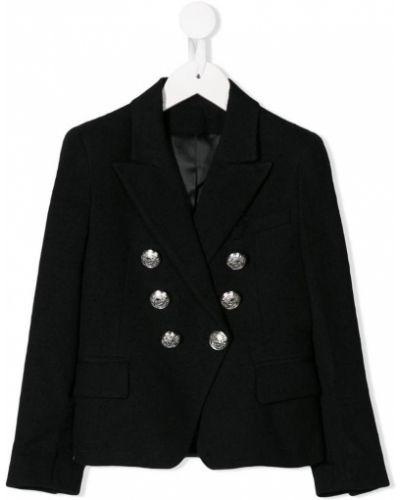 Пиджак двубортный черный Balmain Kids