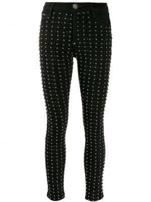 Черные джинсы-скинни с заклепками с пайетками с поясом Philipp Plein