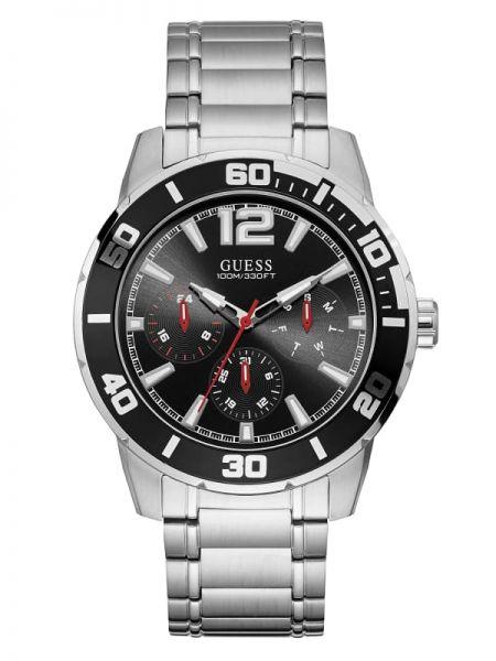 Czarny sport zegarek srebrny Guess
