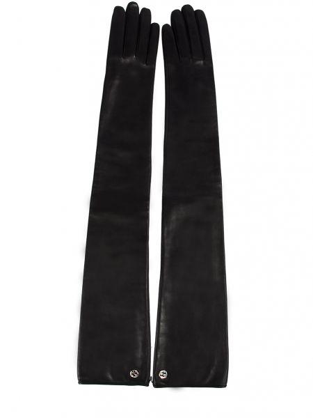 Черные шелковые перчатки длинные с подкладкой с декоративной отделкой Gucci
