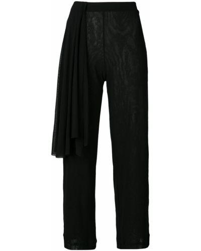 Черные драповые укороченные брюки с поясом Fuzzi