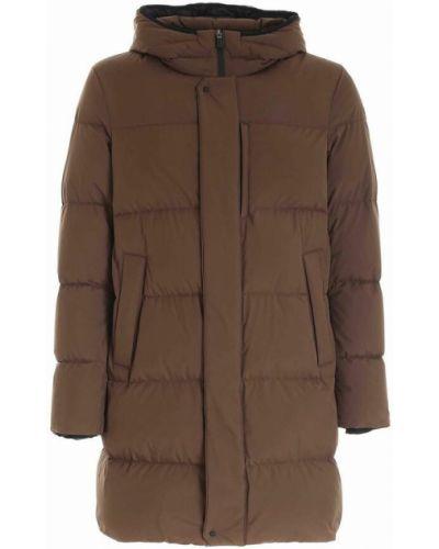 Płaszcz puchowy z kapturem - brązowy Herno