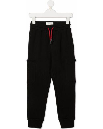 Хлопковые прямые черные брюки с нашивками Zadig & Voltaire Kids