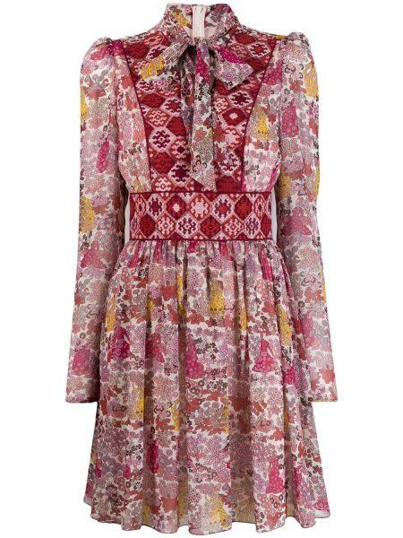 Różowa sukienka długa z długimi rękawami w kwiaty Giamba