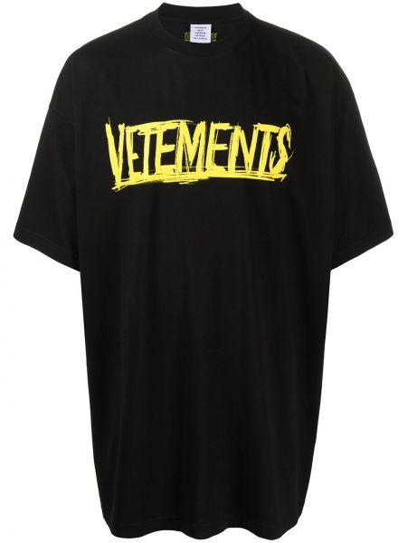 Koszula krótkie z krótkim rękawem z logo z nadrukiem Vetements