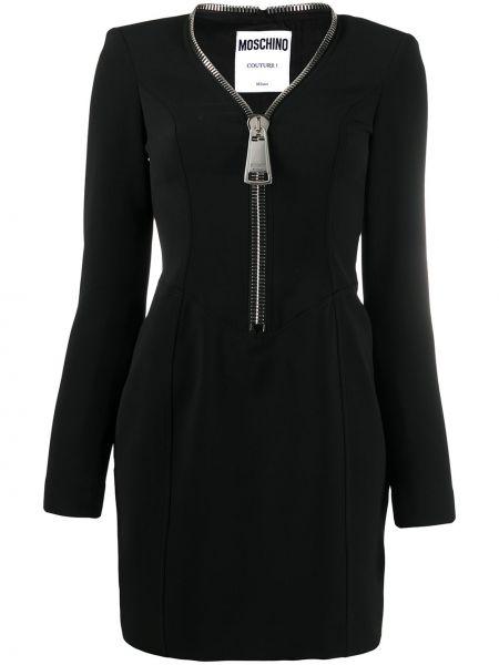Брендовое черное платье мини с длинными рукавами Moschino