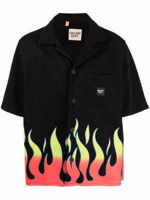 Czarna koszula krótki rękaw z jedwabiu Gallery Dept.
