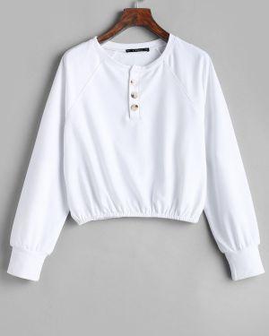Пуловер с рукавом реглан на пуговицах Zaful